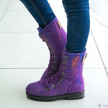 Footwear handmade. Livemaster - original item Felted boots for girls Northern lights. Handmade.