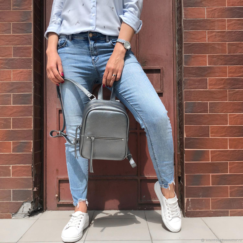 Рюкзак кожаный Minimal mini С069 (платина), Рюкзаки, Харьков, Фото №1
