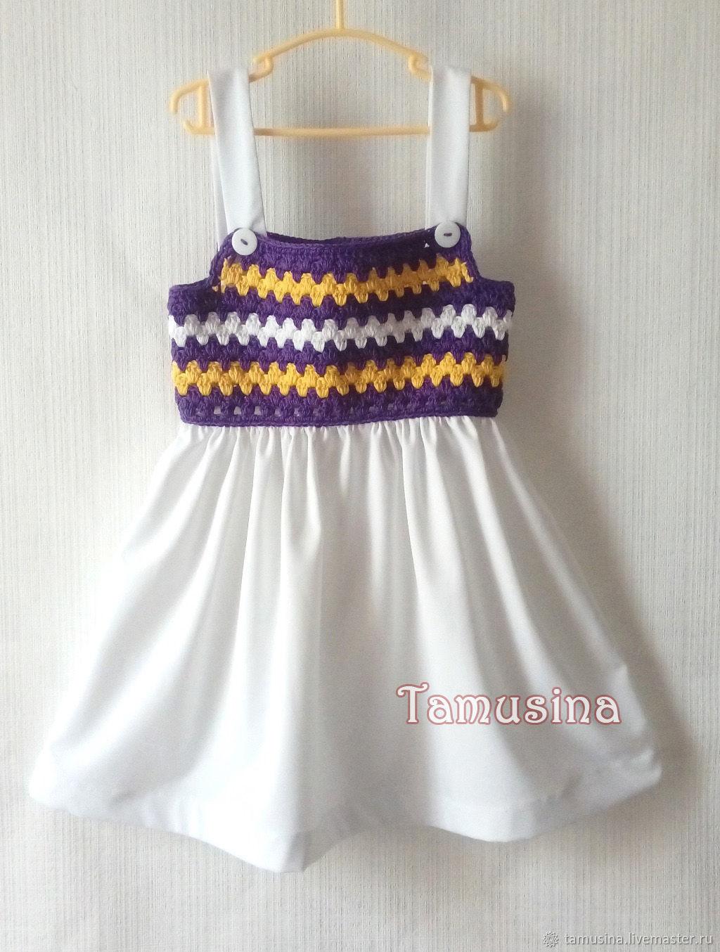 Одежда для девочек, ручной работы. Ярмарка Мастеров - ручная работа. Купить Комбинированный сарафан для девочки Ирисы. Handmade. Ирисы