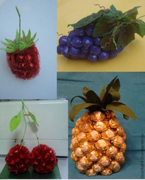 Букеты ручной работы. Ярмарка Мастеров - ручная работа. Купить фрукты из конфет. Handmade. Букет из конфет, сладкий подарок