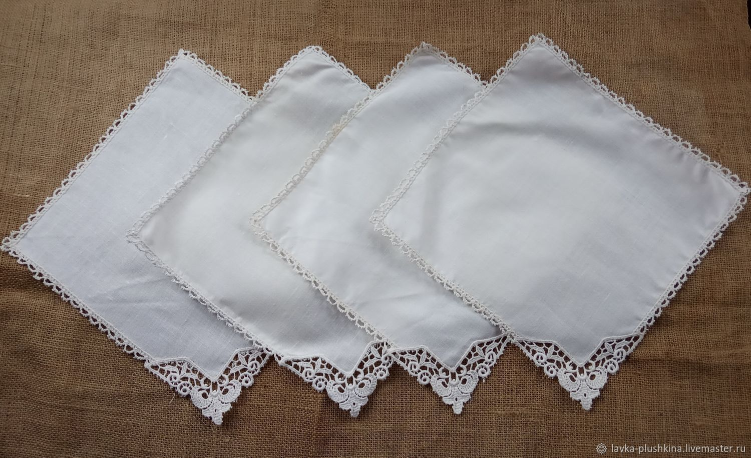 Napkins linen set 4 pieces, Vintage interior, Ekaterinburg,  Фото №1