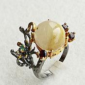 """Кольца ручной работы. Ярмарка Мастеров - ручная работа Кольцо """"Грета"""" с рутиловым кварцем. Handmade."""