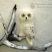 Куклы и игрушки ручной работы. Ярмарка Мастеров - ручная работа Брошь Сова Полярная белая валяная из шерсти. Handmade.