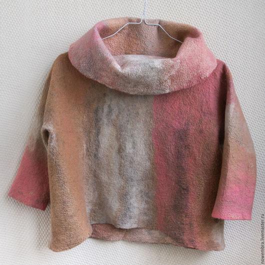 Кофты и свитера ручной работы. Ярмарка Мастеров - ручная работа. Купить Валяный джемпер Утренние облака. Handmade. Коралловый