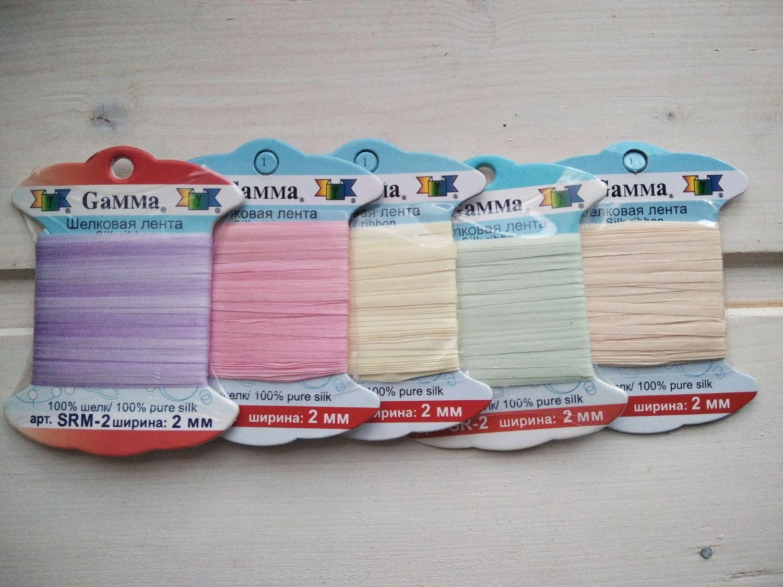 The silk ribbon Gamma, 2 mm. Tapes, decorative, braid, Ivanovo,  Фото №1