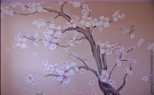 Пейзаж ручной работы. Ярмарка Мастеров - ручная работа. Купить Сакура роспись стены. Handmade. Роспись, сакура, роспись стен