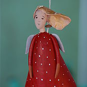 """Сувениры и подарки ручной работы. Ярмарка Мастеров - ручная работа Колокольчик """"Ангел в красном"""". Handmade."""