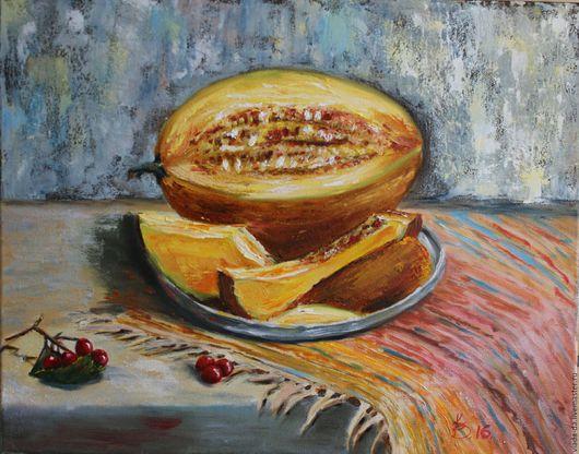 Натюрморт ручной работы. Ярмарка Мастеров - ручная работа. Купить Картина маслом Сочная дыня. Handmade. Желтый, картина в подарок