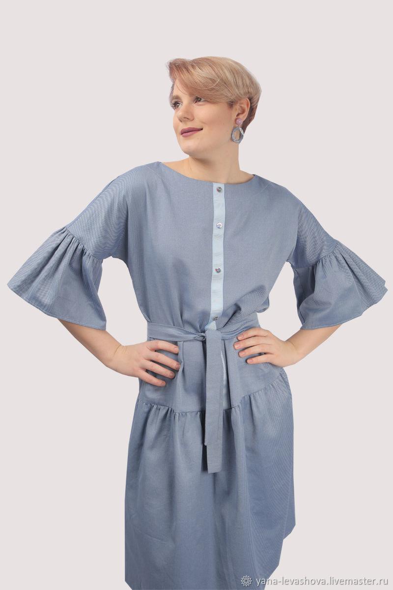 Платье рубашка голубое хлопковое с воланами, Платья, Москва,  Фото №1