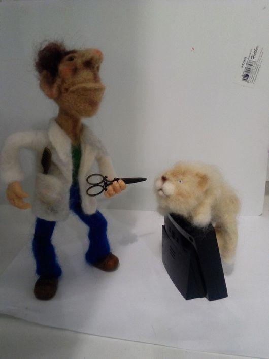 Коллекционные куклы ручной работы. Ярмарка Мастеров - ручная работа. Купить Кула парикмахер валяный из шерсти.интерьерная игрушка. Handmade.