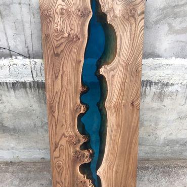 Для дома и интерьера ручной работы. Ярмарка Мастеров - ручная работа Стол Река из горного карагача с полимерной заливкой. Handmade.