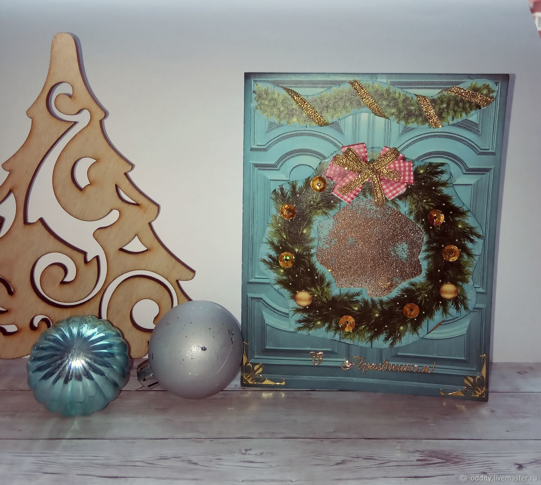 Новогодний венок, открытка с шейкером, Открытки, Самара,  Фото №1