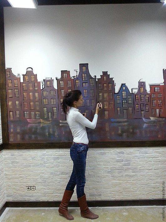 """Город ручной работы. Ярмарка Мастеров - ручная работа. Купить Роспись стены """"Амстердам"""". Handmade. Панно на стену, декоративные элементы"""