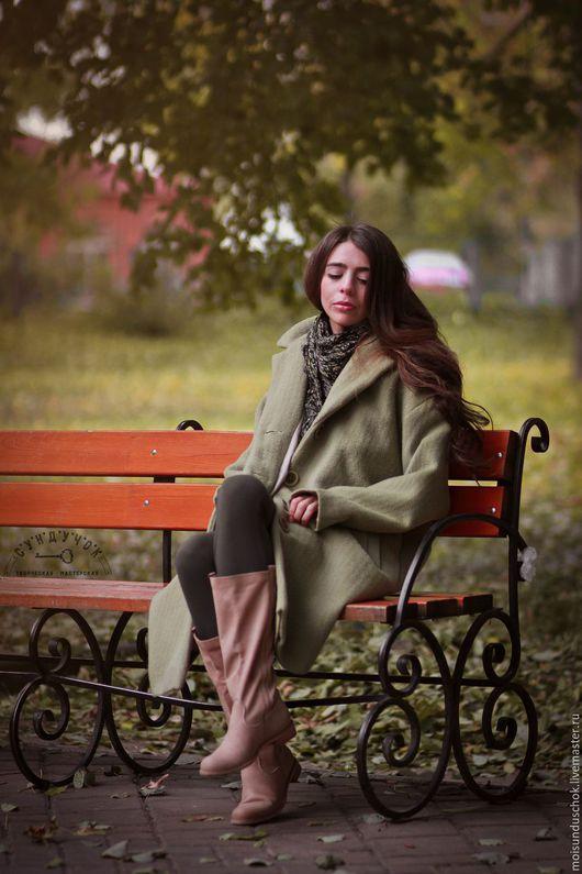 """Верхняя одежда ручной работы. Ярмарка Мастеров - ручная работа. Купить Пальто""""Шёпот листьев"""". Handmade. Оливковый, модная одежда, casual"""