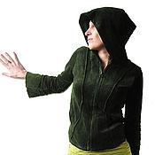 Одежда ручной работы. Ярмарка Мастеров - ручная работа Темно-зеленая кофта с потайным карманом. Handmade.