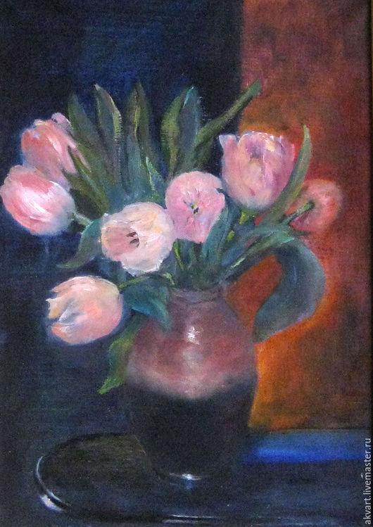 Картины цветов ручной работы. Ярмарка Мастеров - ручная работа. Купить Живопись маслом. Тюльпаны на фоне рыжего с синим. Handmade.