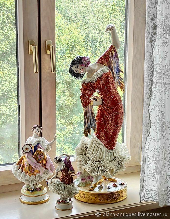 Винтаж: Монументальная танцовщица - 79  см!!!! Германия кружевной фарфор, Предметы интерьера винтажные, Москва,  Фото №1