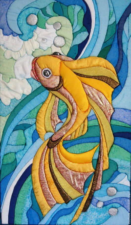 Фантазийные сюжеты ручной работы. Ярмарка Мастеров - ручная работа. Купить Золотая рыбка. Handmade. Желтый, бирюзовый, сказочно, лоскутки