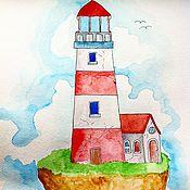 Картины и панно ручной работы. Ярмарка Мастеров - ручная работа Маяк на острове. Handmade.