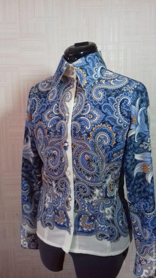 Классическая блузка выполнена из Павлопосадского платка `Морозко` 100%шерсть.Длина изделия 60 см.Обхват груди 88-92,талии 70-75,бедер 94-98.