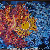 """Картины и панно ручной работы. Ярмарка Мастеров - ручная работа Картина """"Дракон и Феникс"""". Handmade."""
