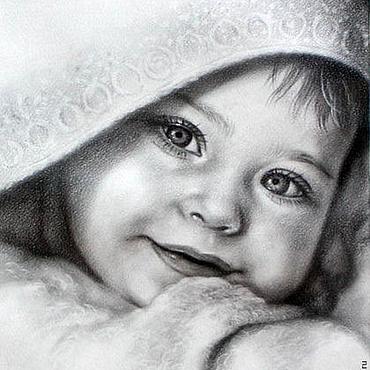 Картины и панно ручной работы. Ярмарка Мастеров - ручная работа Портрет младенца.. Handmade.