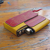 Сумки и аксессуары handmade. Livemaster - original item Cigarette case-Sigaretta yellow-red for slim cigarettes with a lighter. Handmade.