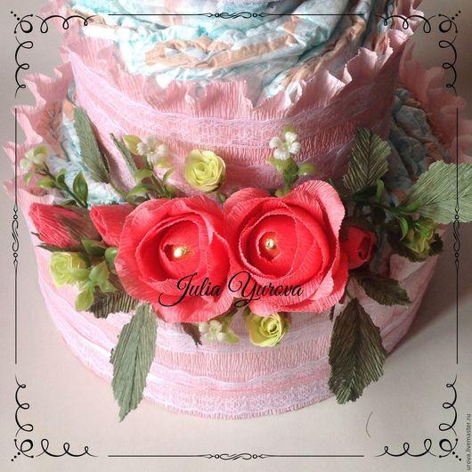 """Подарки для новорожденных, ручной работы. Ярмарка Мастеров - ручная работа. Купить Торт из памперсов """"Девочке"""". Handmade. Бледно-розовый, новорожденному"""