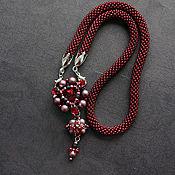 Украшения handmade. Livemaster - original item Red pendant convertible pendant with stones and pearls Swarovski. Handmade.