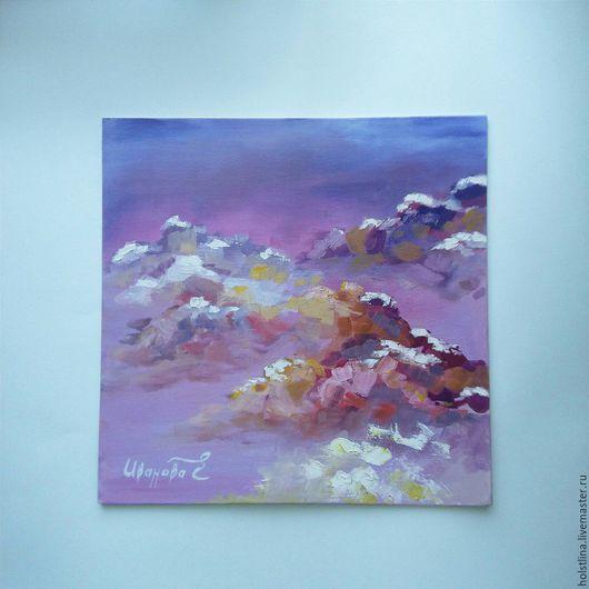 """Пейзаж ручной работы. Ярмарка Мастеров - ручная работа. Купить """"Румяное небо"""". Handmade. Тёмно-фиолетовый, розовый, подарок, холст"""
