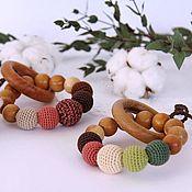 Куклы и игрушки handmade. Livemaster - original item Rodent / rattle / teether round (5 beads). Handmade.