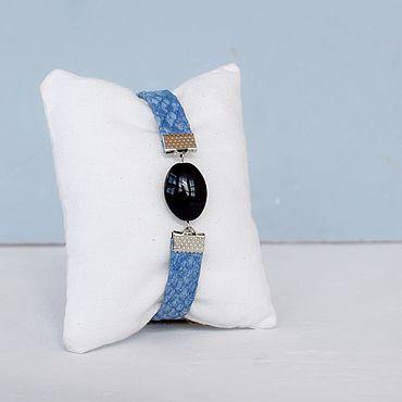 Украшения ручной работы. Ярмарка Мастеров - ручная работа Браслет в морском стиле с камнями по знаку зодиака Черон-голубой. Handmade.