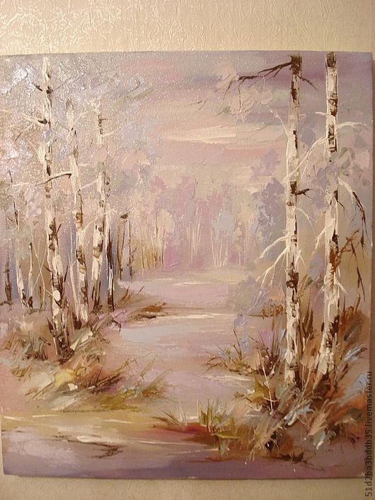 Пейзаж ручной работы. Ярмарка Мастеров - ручная работа. Купить зимнее утро. Handmade. Бледно-розовый, картина, картина в подарок