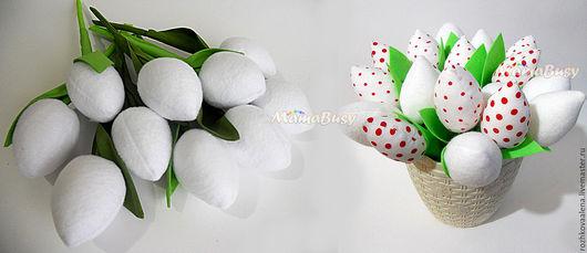 Персональные подарки ручной работы. Ярмарка Мастеров - ручная работа. Купить Тюльпаны-тильда (бело-красная гамма). Handmade. Белый