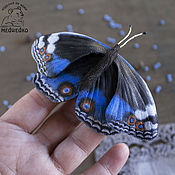 Украшения handmade. Livemaster - original item Brooch leather Butterfly Blue Pansy-2. Handmade.