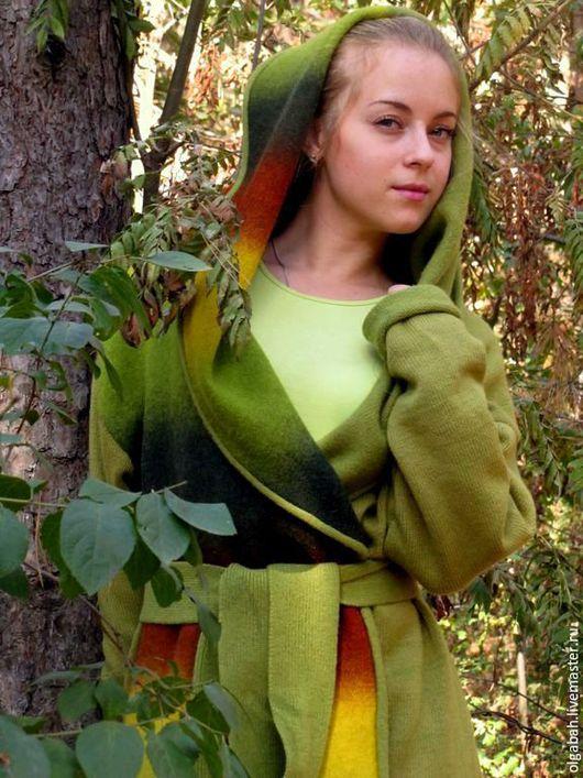 """Верхняя одежда ручной работы. Ярмарка Мастеров - ручная работа. Купить Пальто """"зеленый эльф"""". Handmade. Зеленый"""
