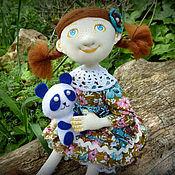 Куклы и игрушки ручной работы. Ярмарка Мастеров - ручная работа Текстильная кукла с пандой, грунтованный текстиль. Handmade.