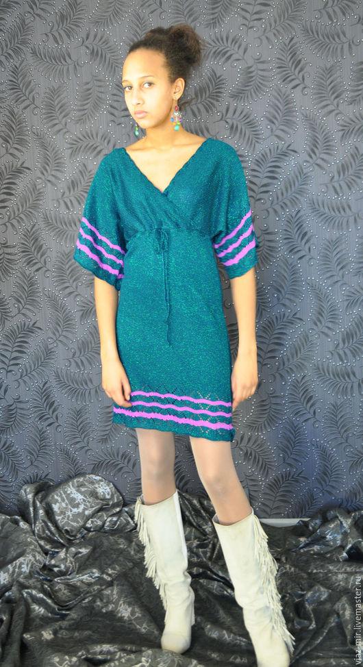 Платья ручной работы. Ярмарка Мастеров - ручная работа. Купить Платье темного изумрудного оттенка с люрексом и рукавом -кимоно. Handmade.