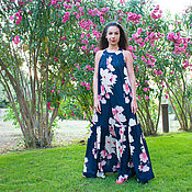 Одежда handmade. Livemaster - original item Summer dress with floral print, Long dress, Maxi Dress. Handmade.