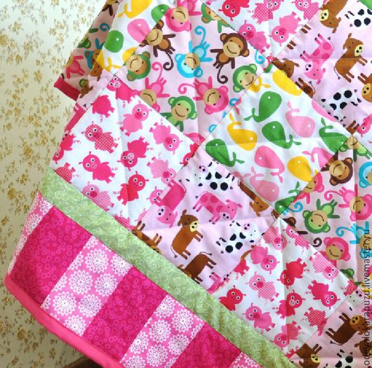 Пледы и одеяла ручной работы. Ярмарка Мастеров - ручная работа. Купить Лоскутное одеяло/покрывало для девочки. Текстиль для детской. Handmade. детская