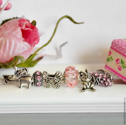 """Браслеты ручной работы. Ярмарка Мастеров - ручная работа. Купить Браслет """"Девочка"""". Handmade. Розовый, подарок на рождение, pandora, девочка"""