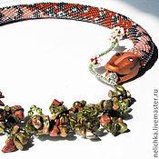 Украшения ручной работы. Ярмарка Мастеров - ручная работа жгут Игривая змейка (с унакитом). Handmade.