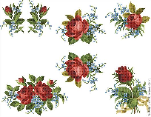 """Вышивка ручной работы. Ярмарка Мастеров - ручная работа. Купить Коллекция дизайнов """"Букетики из роз"""", формат EXP, ART, VP3, PAT, PES. Handmade."""