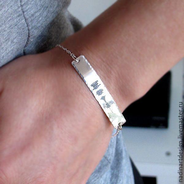 браслет из серебра 925 подарок мамегравировка детских имён на