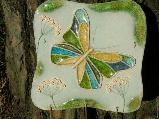 Персональные подарки ручной работы. Ярмарка Мастеров - ручная работа. Купить Панно Бабочка Керамика. Handmade. Голубой, травы, цветы