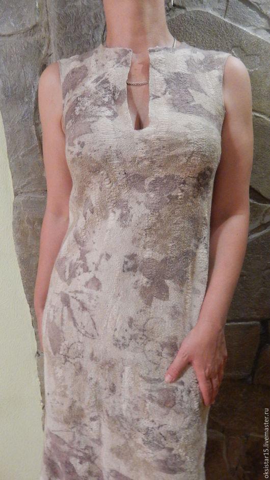"""Платья ручной работы. Ярмарка Мастеров - ручная работа. Купить Платье валяное """"Лето в тени"""". Handmade. Комбинированный, эко-принт"""