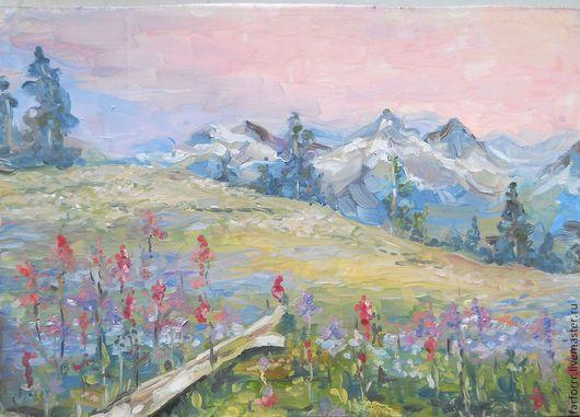 Пейзаж ручной работы. Ярмарка Мастеров - ручная работа. Купить Картина Закат в горах.. Handmade. Розовый, картина, горы, пейзаж