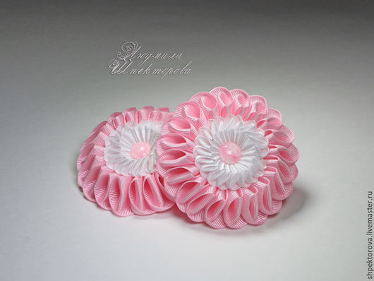 Детская бижутерия ручной работы. Ярмарка Мастеров - ручная работа. Купить Резинки для волос Зефирки двухрядные розово-белые. Handmade.