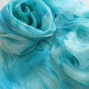 Аксессуары ручной работы. Ярмарка Мастеров - ручная работа Шарф шелковый Голубой Водопад большой размер. Handmade.