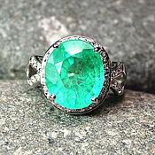 """Украшения ручной работы. Ярмарка Мастеров - ручная работа """"Green"""" кольцо серебро 925 с молодым изумрудом и белыми сапфирами. Handmade."""